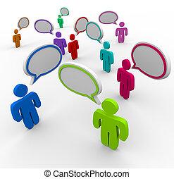 mensen, communicatie, -, ontwrichtend, het spreken, eens