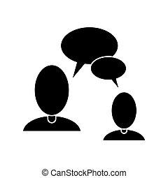 mensen, communicatie, pictogram, klesten, tekstballonetje