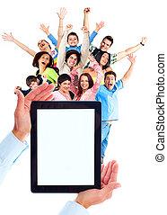 mensen., computer, groep, tablet, vrolijke