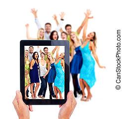 mensen., computer, tablet, vrolijke