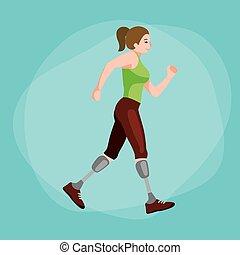 mensen, concept, atleet, competitie, vrijstaand, invalide, prothese, ongeldig, activiteit, sportende, lichamelijk