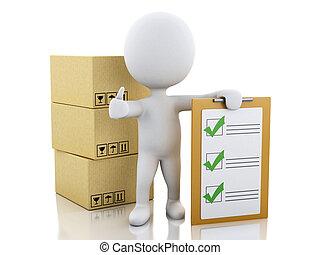 mensen, controlelijst, boxes., klembord, witte , karton, 3d