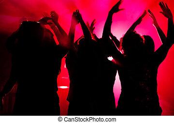 mensen, dancing, in, club, met, laser