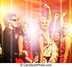 mensen, dancing, in, de, nachtclub