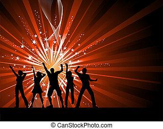 mensen, dancing, op, starburst, achtergrond