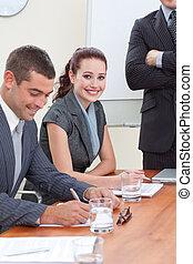 mensen, directeur, hun, commerciële vergadering