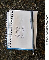 mensen, drie, holdingshanden