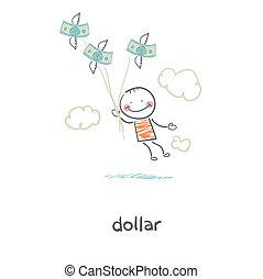 mensen, en, geld., illustration.