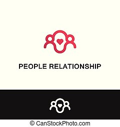 mensen, family., vector, mal, logo, verhouding