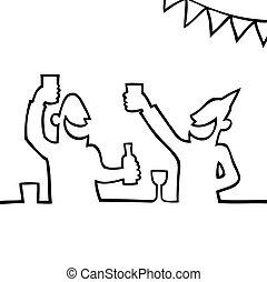 mensen, feestende, twee, dranken