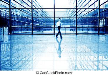 mensen, gebouw, zaal, kantoor, silhouette