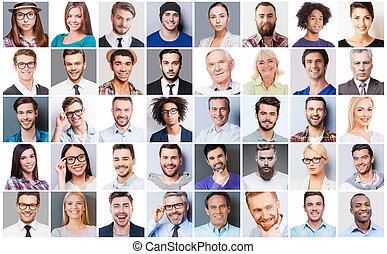 mensen, gemengd, anders, leeftijd, collage, emoties, mensen., uitdrukken, anders, multi-etnisch