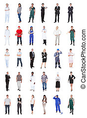 mensen, gevarieerd, multiethnic, beroepen