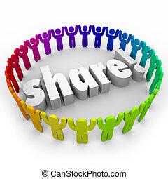 mensen, geven, aandeel, samen, portie, gemeenschap,...