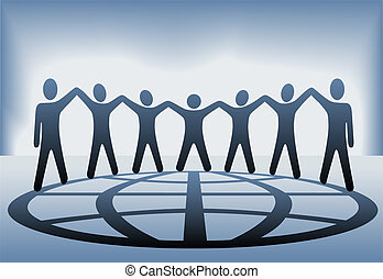 mensen, globe globaal, armen op, handen, houden