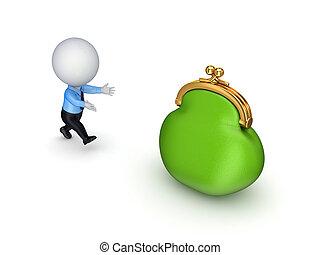 mensen, groene, 3d, purse., kleine