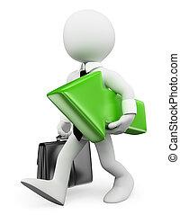 mensen., groene, richtingwijzer, zakenman, witte , 3d