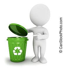 mensen, groenteblik, hergebruiken, witte , afval, 3d