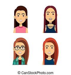 mensen, groep, avatars, karakters, jonge