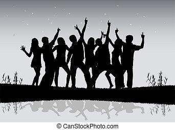 mensen., groep, dancing
