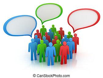 mensen, groep, diferent, aanzichten