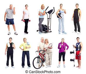 mensen., groep, fitness