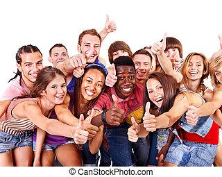 mensen., groep, multi-etnisch