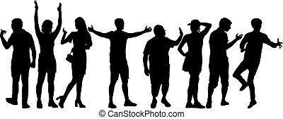 mensen, groep, staand, silhouette, achtergrond, witte