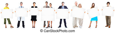 mensen, groep, zakelijk, banner.