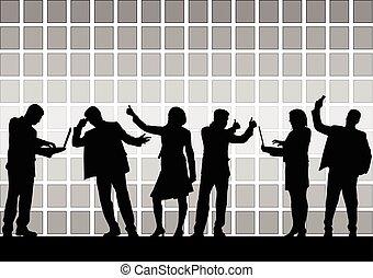 mensen., groep, zakelijk