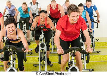 mensen, gym, het spinnen, sportende, stand, oefening