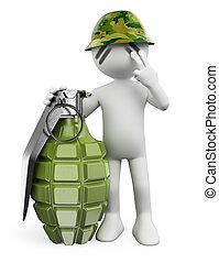 mensen., hand, soldaat, witte , granaat, 3d