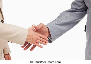 mensen, handen, hun, zakelijk, rillend, close-up