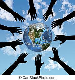 mensen, handen, reik voor, globe, aarde