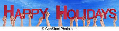 mensen, handen, vasthouden, rood, recht, woord, vrolijke , feestdagen, blauwe hemel