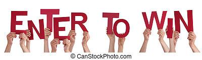 mensen, handen, vasthouden, rood, woord, binnengaan, te...