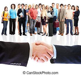 mensen, handshake., zakelijk, meeting.