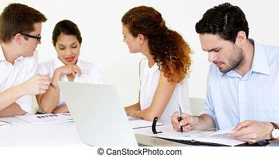mensen, hebben, vergadering, zakelijk