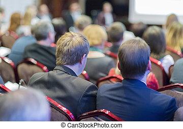mensen, het luisteren, op, de, conference., achtermening