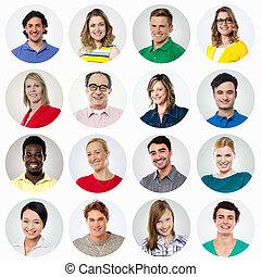 mensen, hoofd, collage., grit, het glimlachen