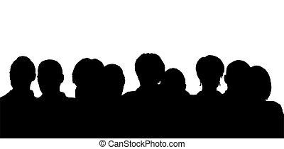 mensen, hoofden, silhouette