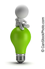 mensen, -, idee, kleine, zit, 3d
