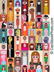 mensen, illustratie, vector