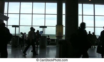 mensen in a, zaal, van, de, luchthaven, met, sound.