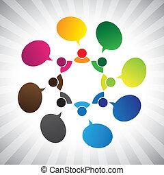 mensen in, sociaal, netwerk, klesten, of, chatting-, vector, grafisch