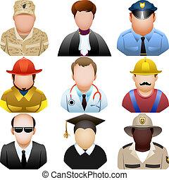 mensen in, uniform, pictogram, set