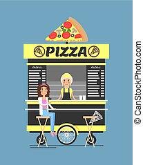 mensen, informatietechnologie, illustratie, vector, stander, pizza