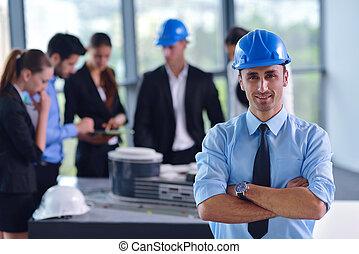 mensen, ingenieurs, vergadering, bouwsector, zakelijk