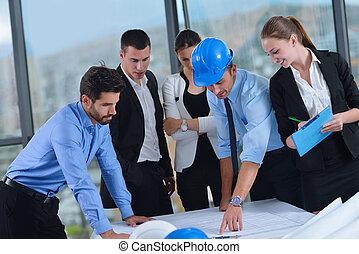 mensen, ingenieurs, vergadering, zakelijk