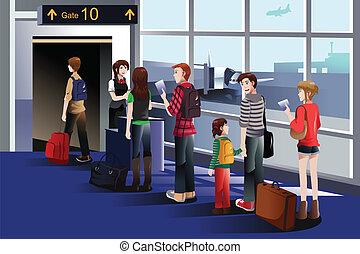 mensen, instappen, de, vliegtuig, op, de, poort